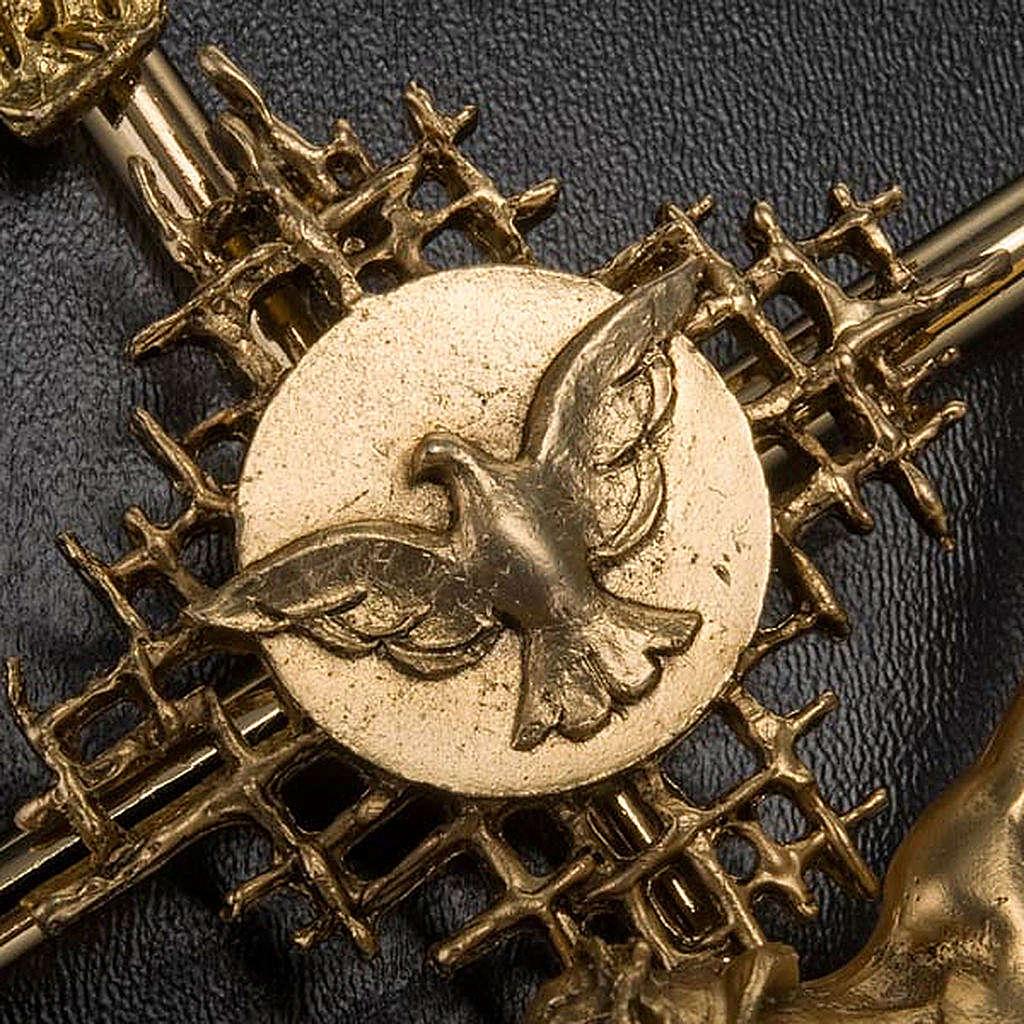 Crucifix métal doré Christ Père, saint Espr 4