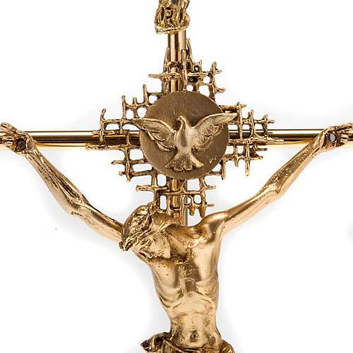 Crucifix métal doré Christ Père, saint Espr 2