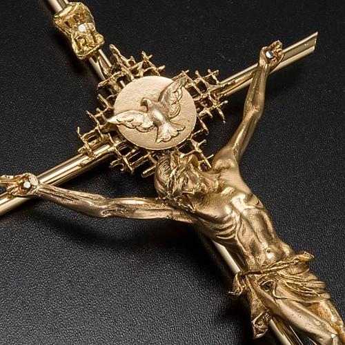 Crucifix métal doré Christ Père, saint Espr 3