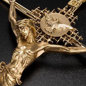 Crocifisso metallo dorato Cristo Padre Spirito Santo s4