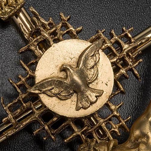 Crocifisso metallo dorato Cristo Padre Spirito Santo 5