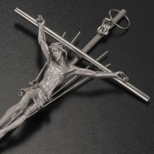 Crucifijo metal plateado con rayos 3