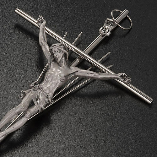 Crucifix métal argenté avec rayons 3