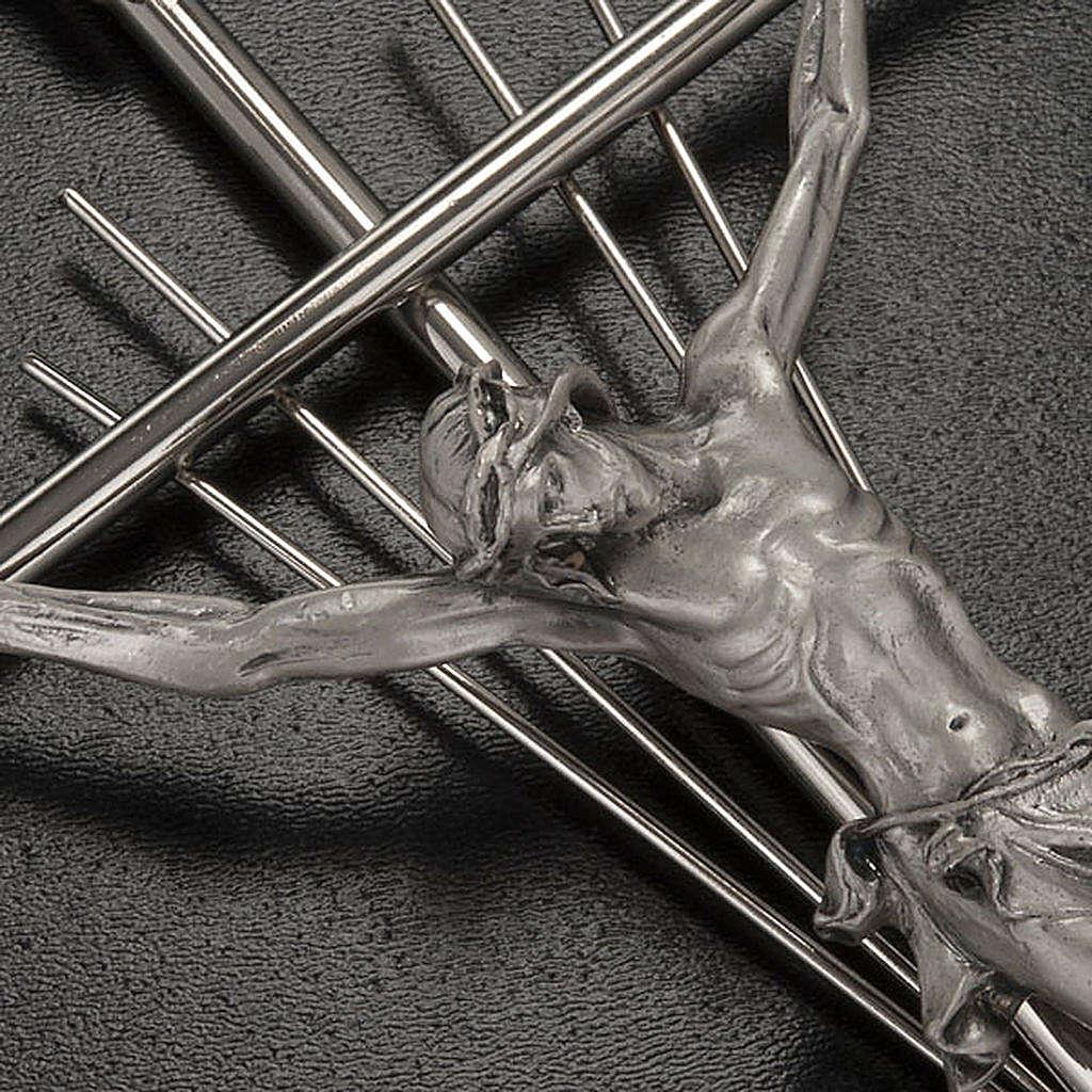 Crocifisso metallo argentato con raggi 4