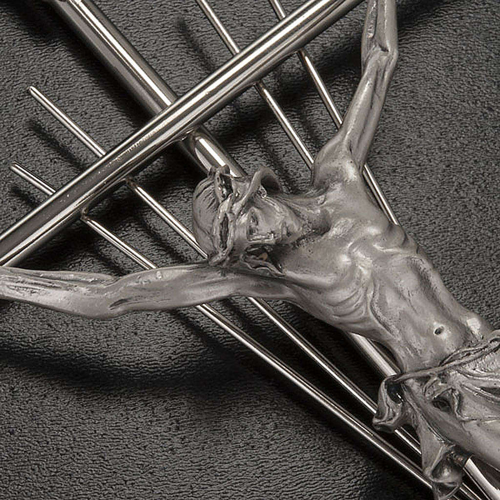 Crucifix in silver metal with rays 4