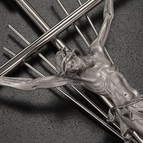 Crucifix in silver metal with rays 2