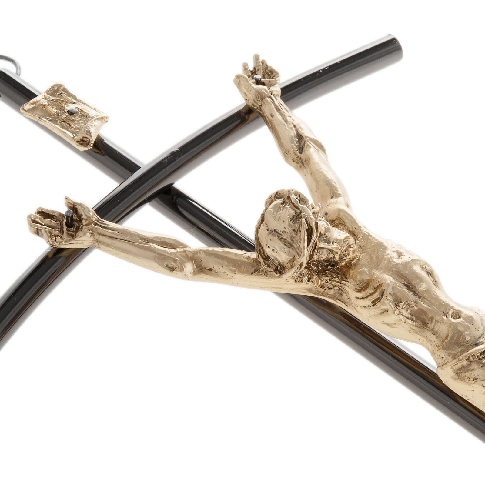 Crucifix foncé avec Corps du Christ doré 35 cm 4
