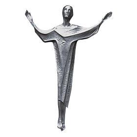 Cristo da parete ottone fuso h 57 cm s1