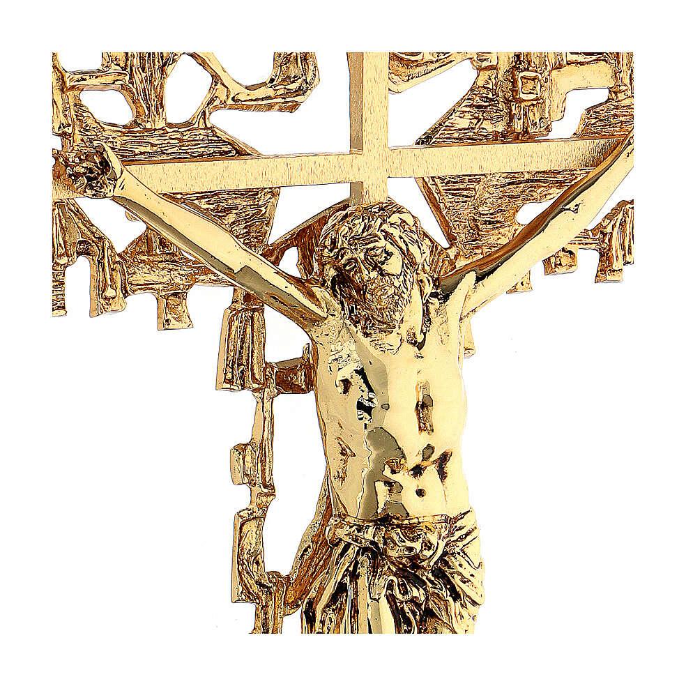 Croce ottone fuso a muro 62x40 cm 4