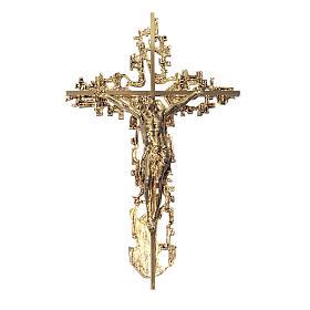 Croce ottone fuso a muro 62x40 cm s1