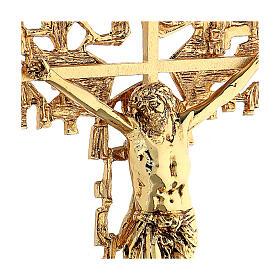Croce ottone fuso a muro 62x40 cm s4