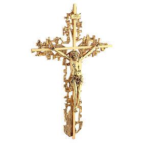 Croce ottone fuso a muro 62x40 cm s5