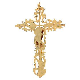 Croce ottone fuso a muro 62x40 cm s6
