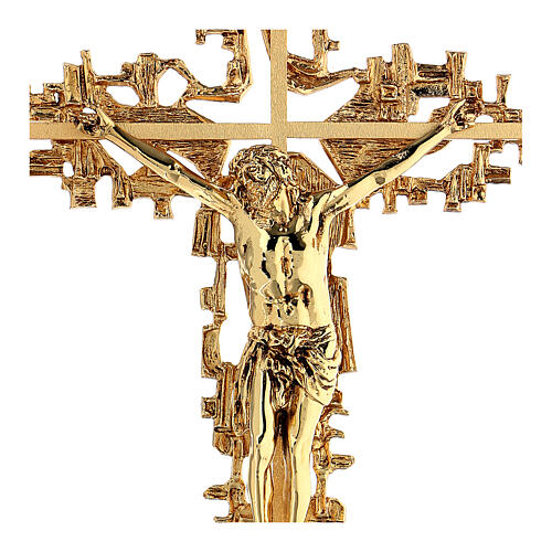 Croce ottone fuso a muro 62x40 cm 2