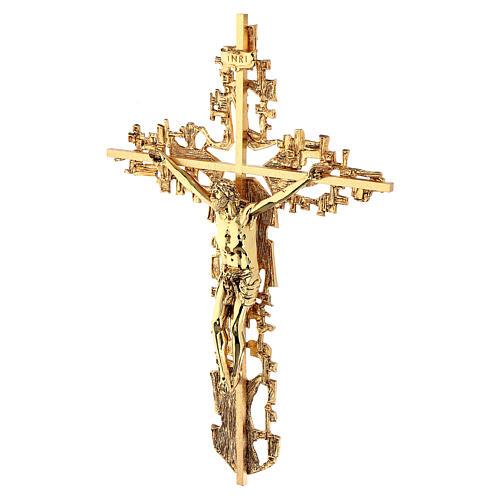 Croce ottone fuso a muro 62x40 cm 3
