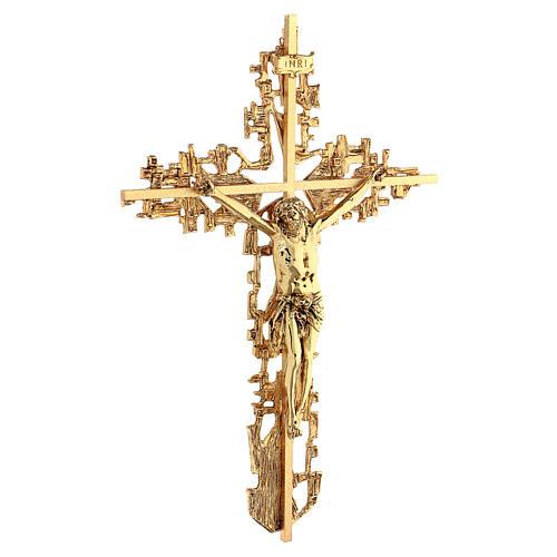 Croce ottone fuso a muro 62x40 cm 5