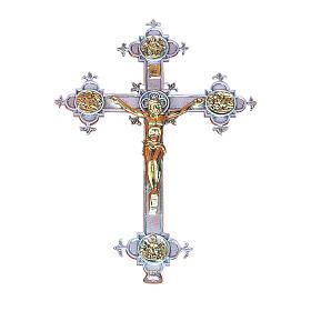 Wall crucifix in cast brass, 48x35cm s1