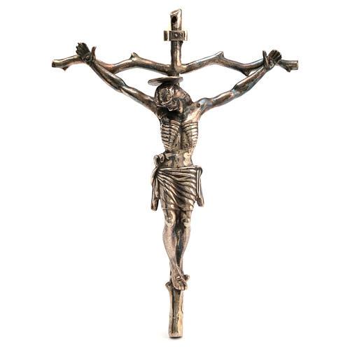 Crocifisso pastorale stilizzato ottone bronzato 28x22 cm 1