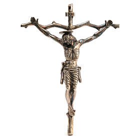 Pastoral Stylised Crucifix in bronzed brass 28x22cm s1
