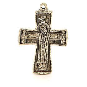 Croce Jésus grand prêtre Monaci Betlemme ottone 9x6 cm s1