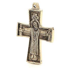 Croce Jésus grand prêtre Monaci Betlemme ottone 9x6 cm s2