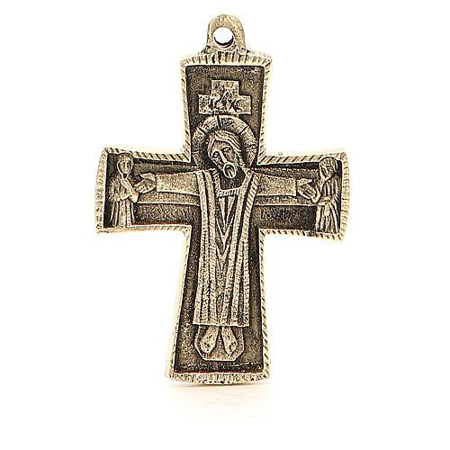 Croce Jésus grand prêtre Monaci Betlemme ottone 9x6 cm 1