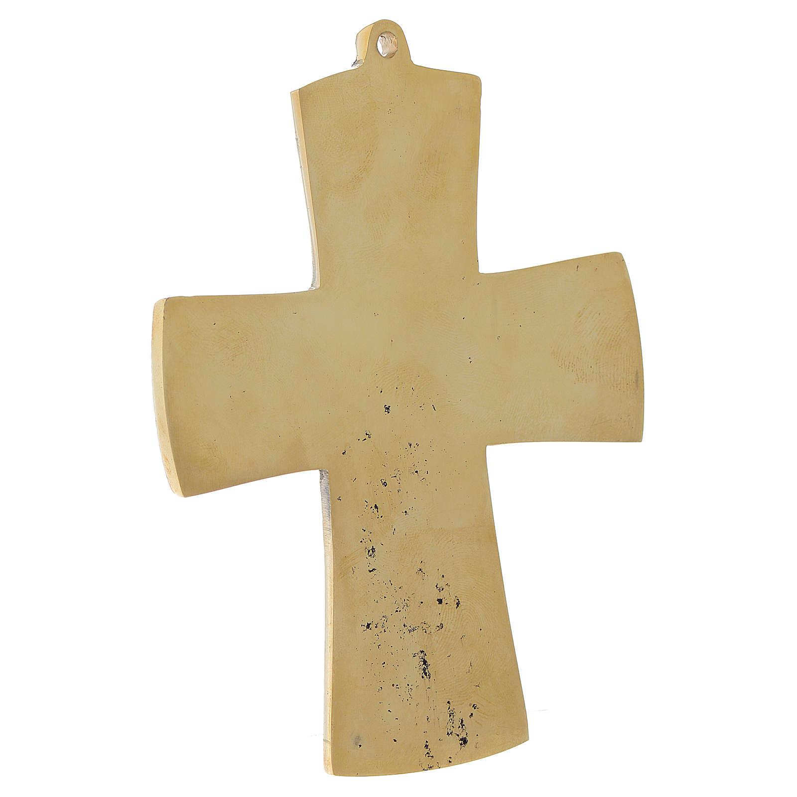 Croce JJésus grand prêtre Monaci Betlemme ottone 13x9,5 cm 4