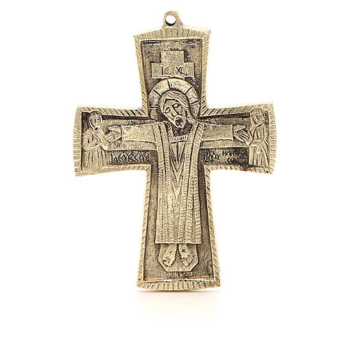 Croce JJésus grand prêtre Monaci Betlemme ottone 13x9,5 cm 1