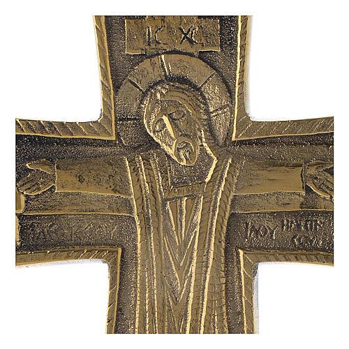 Croce JJésus grand prêtre Monaci Betlemme ottone 13x9,5 cm 2