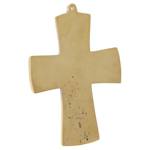 Croce JJésus grand prêtre Monaci Betlemme ottone 13x9,5 cm 3