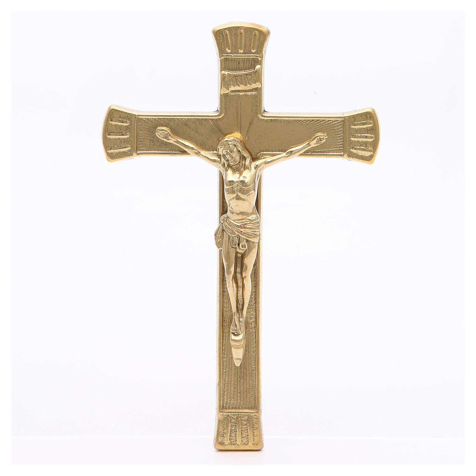 Crucifix laiton doré 19 cm 4