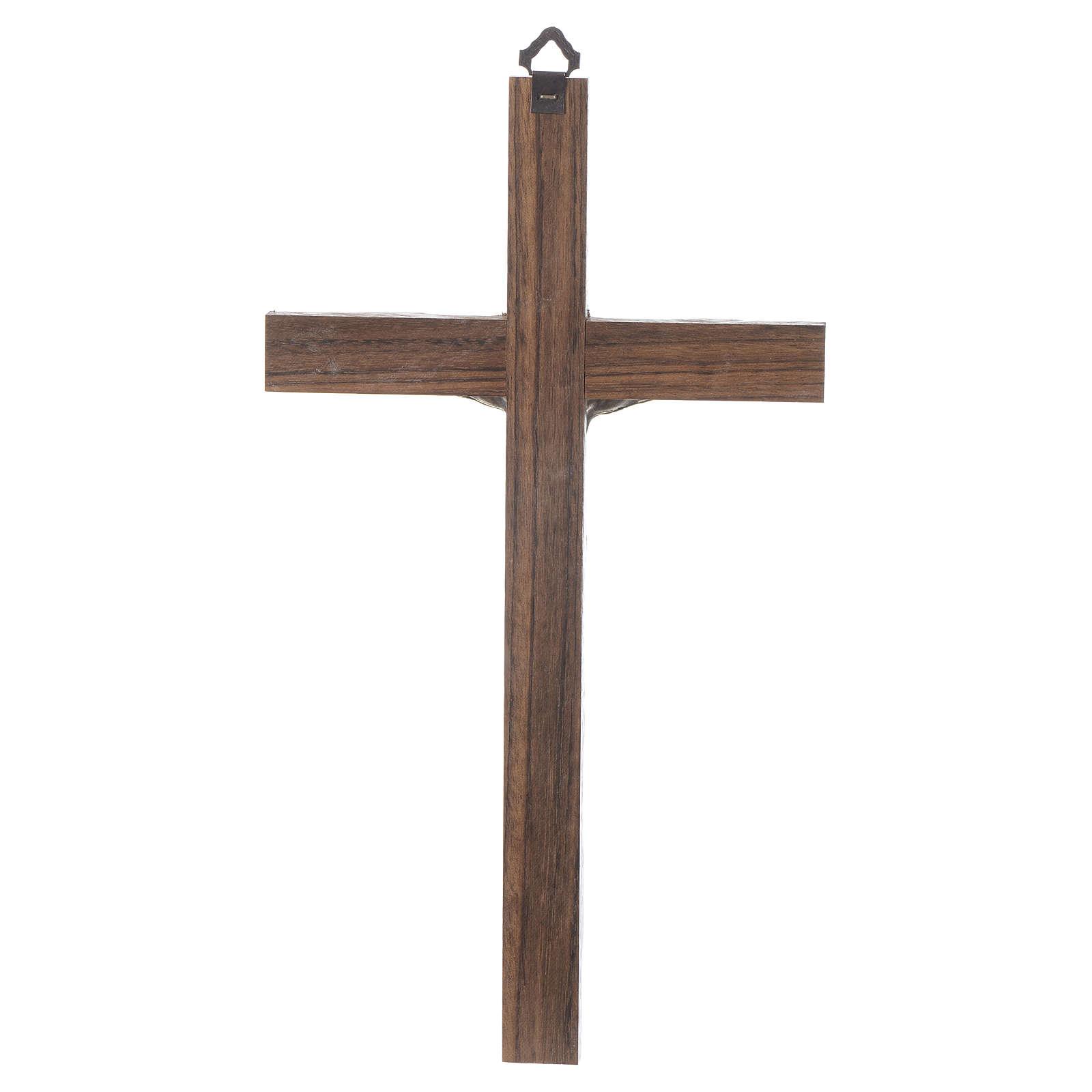 Croix bois Christ métal argenté 25 cm 4