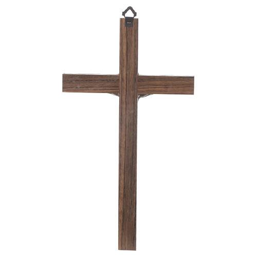 Croix bois Christ métal argenté 25 cm 2