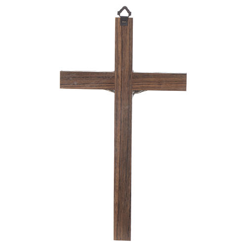 Wooden Crucifix with Body of Christ in Silver Metal 25 cm 2