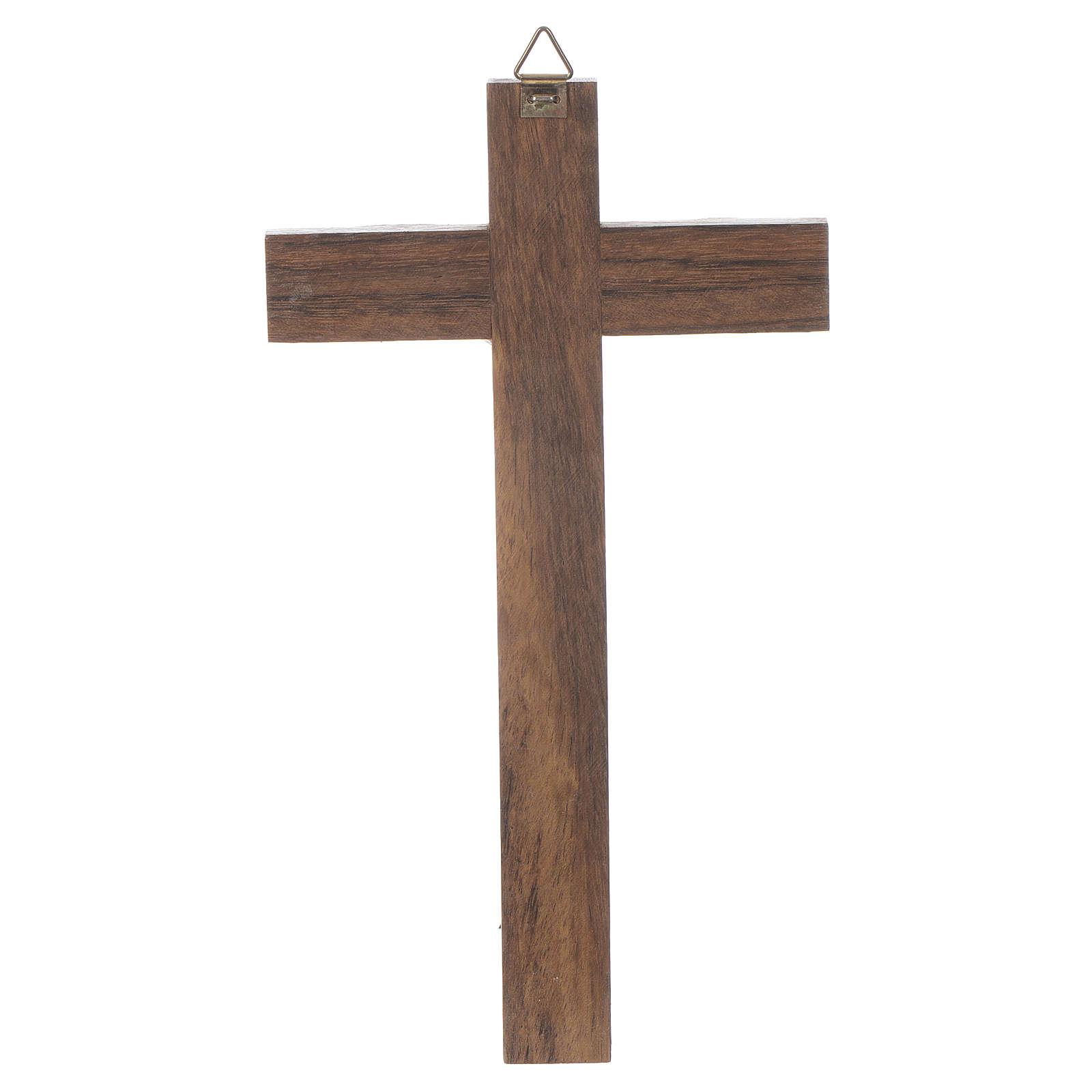 Croix bois Christ métal argenté 18 cm 4