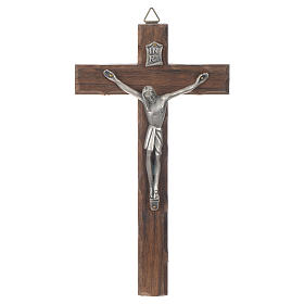Croix bois Christ métal argenté 18 cm s1