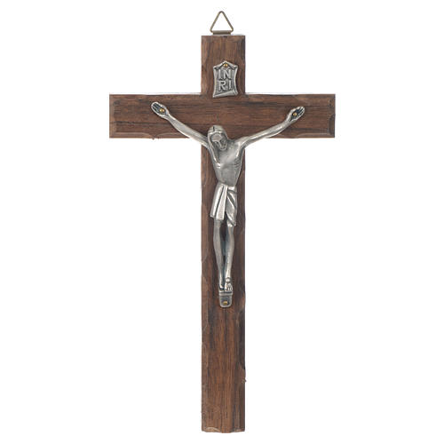 Croix bois Christ métal argenté 18 cm 1