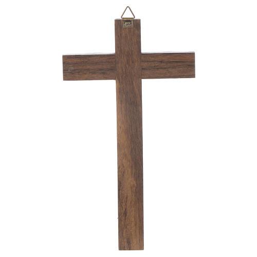 Croix bois Christ métal argenté 18 cm 2
