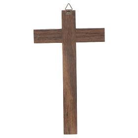 Cruz madeira Cristo metal prateado 18 cm s2