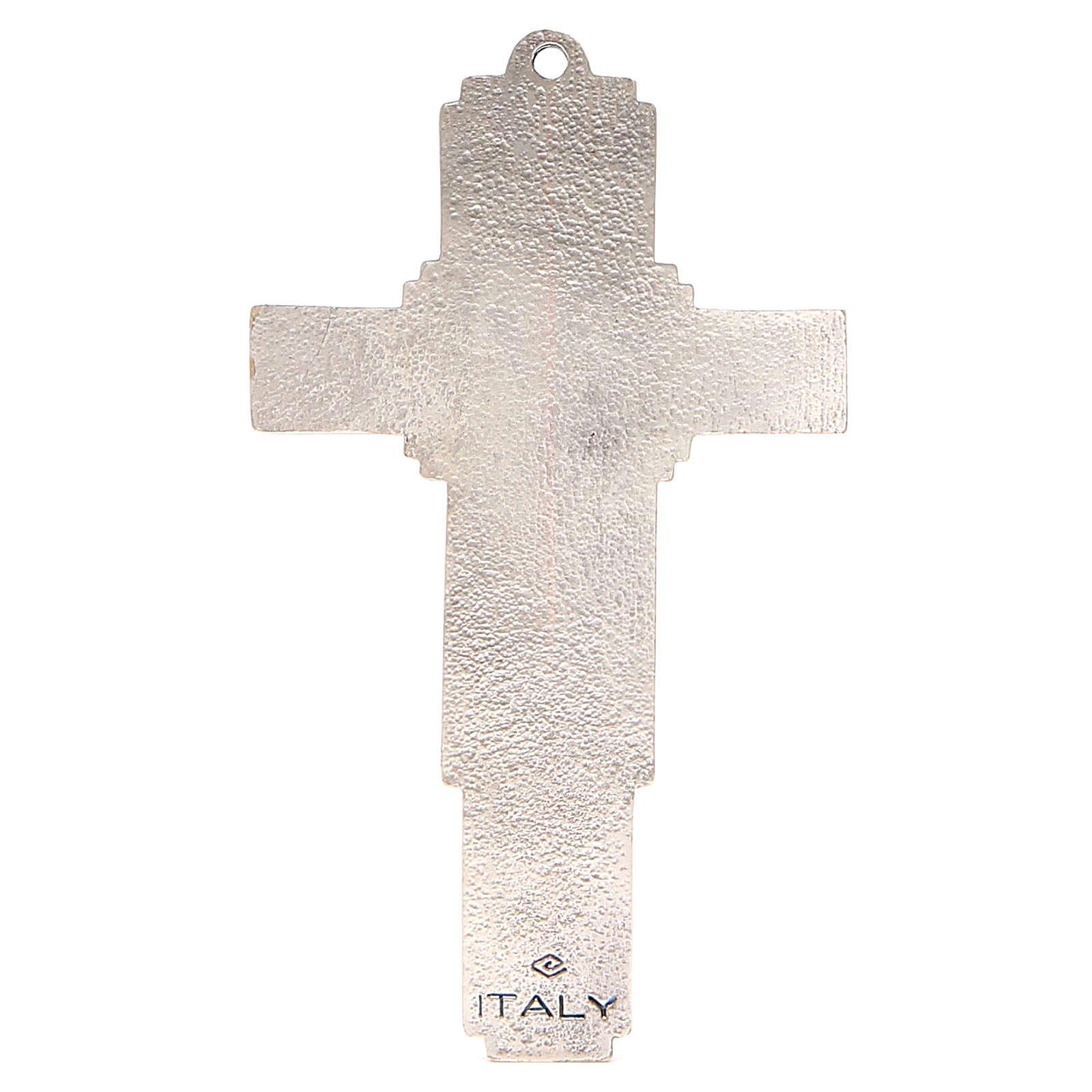 STOCK Croce Albero della Vita metallo cm 14 smalto blu 4