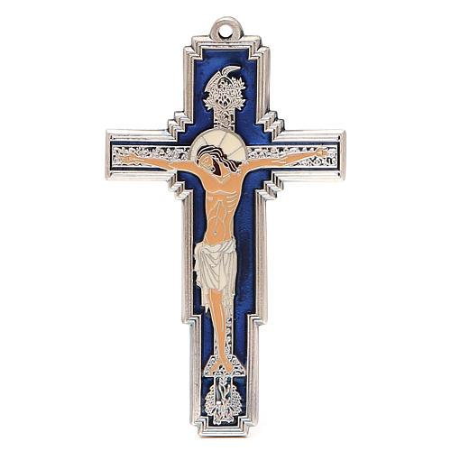 STOCK Croce Albero della Vita metallo cm 14 smalto blu 1