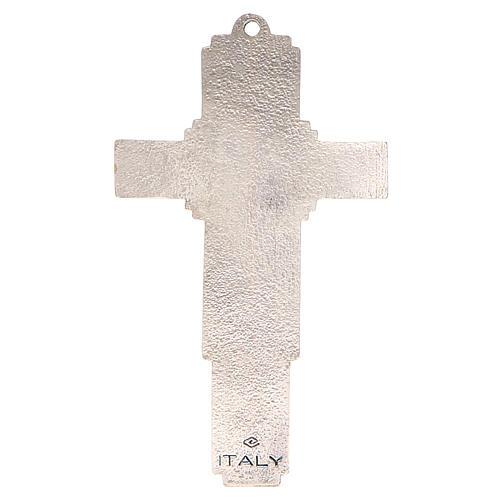 STOCK Croce Albero della Vita metallo cm 14 smalto blu 2