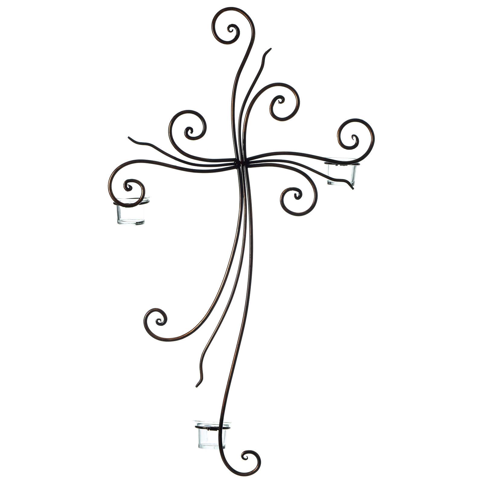 Crucifijo de pared metal 3 lumbres vidrio 75x45 cm 4