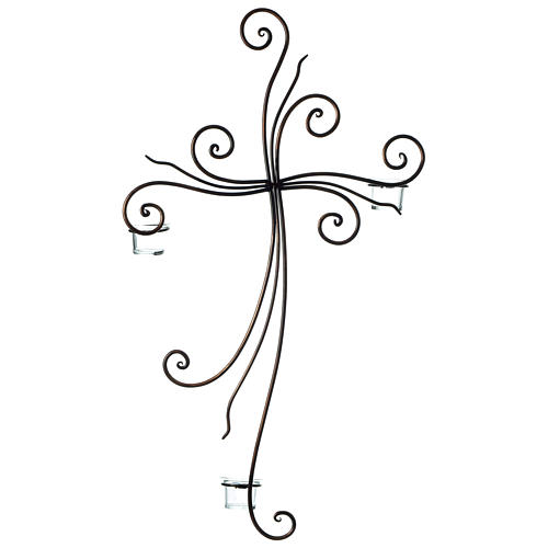 Crucifijo de pared metal 3 lumbres vidrio 75x45 cm 3