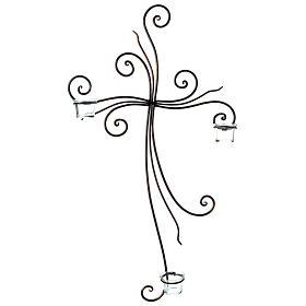 Crucifix à suspendre métal 3 photophores verre 75x45 cm s1