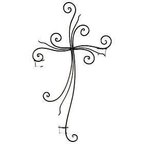 Crucifix à suspendre métal 3 photophores verre 75x45 cm s3
