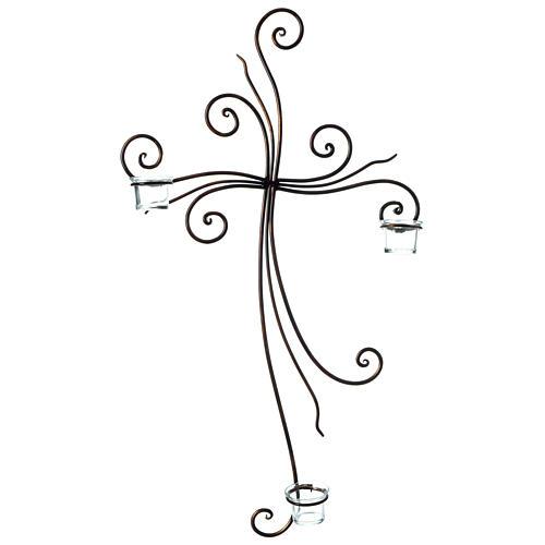 Crucifix à suspendre métal 3 photophores verre 75x45 cm 1