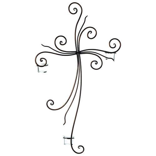 Crucifix à suspendre métal 3 photophores verre 75x45 cm 3