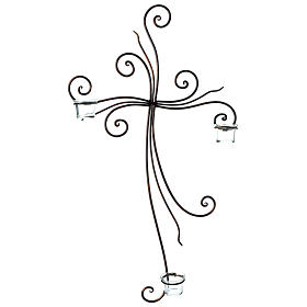 Metal Cross with Tealight Holders 29.5x18 inches s1