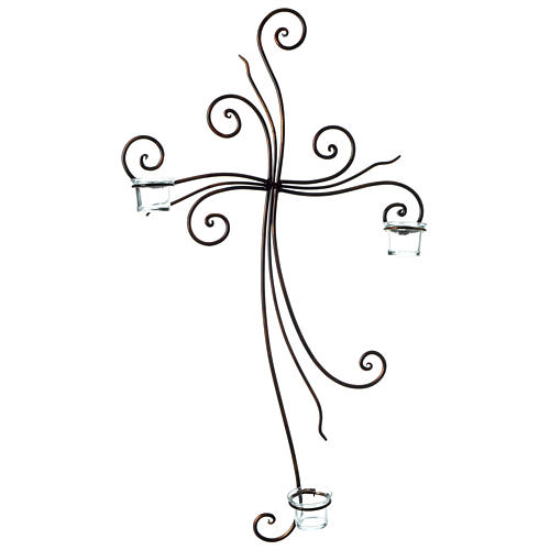 Metal Cross with Tealight Holders 29.5x18 inches 1